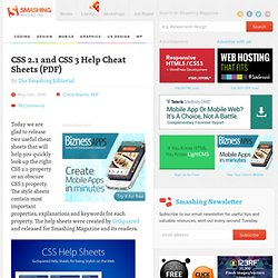 CSS 2.1 and CSS 3 Help Cheat Sheets (PDF) - Smashing Magazine