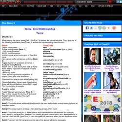 The Sims 3 Cheats, Codes, Cheat Codes, Walkthrough, Guide, FAQ, Unlockables for PC