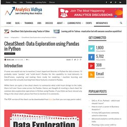 CheatSheet on Data Exploration using Pandas in Python