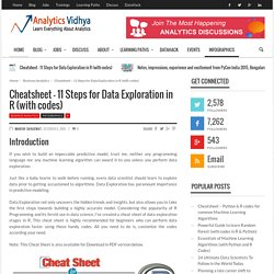 Cheatsheet - 11 Steps for Data Exploration in R (with codes)
