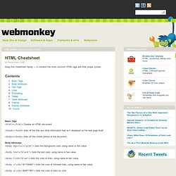 HTML Cheatsheet &124; Webmonkey&&124; Wired.com - StumbleUpon