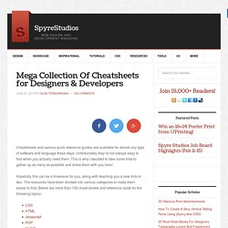 Mega Collection Of Cheatsheets for Designers And Developers | Sp