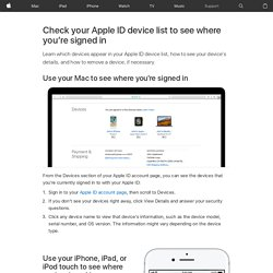 Check your Apple ID device list to see where you're signed in