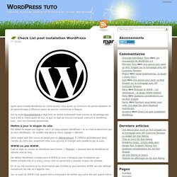 Check List post installation WordPress
