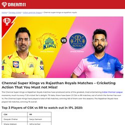 CSK vs RR - Check Overall Match Stats & schedule in IPL 2020 @ Dream11