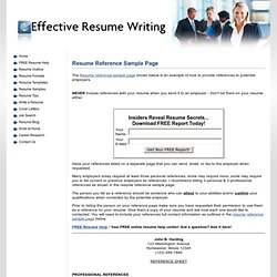 Check out this Resume Reference Sample Page