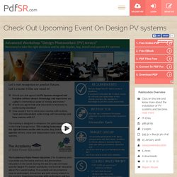 Check Out Upcoming Event On Design PV systems