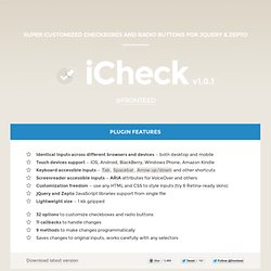 Super customized checkboxes and radio buttons with iCheck jQuery plugin