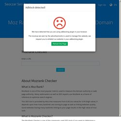 Check Moz Score Domain Authority & Page Authority