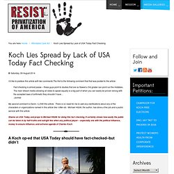Koch Lies Spread by Lack of USA Today Fact Checking