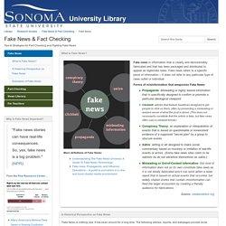 Fake News - Fake News & Fact Checking - Research Guides at Sonoma State University