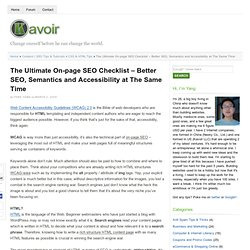 The Ultimate On-page SEO Checklist – Better SEO, Semantics and Accessibility at The Same Time