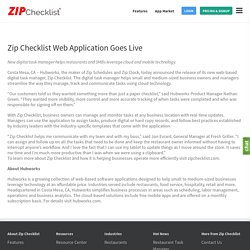 Zip Checklist Web Application Goes Live - Zip Checklist