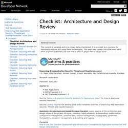 Checklist: Architecture and Design Review