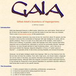 Asperger Syndrome checklist: Gifted Adult's Inventory of Aspergerisms
