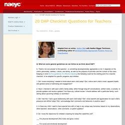 20 DAP Checklist Questions for Teachers