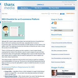 SEO Checklist for an E-commerce Platform
