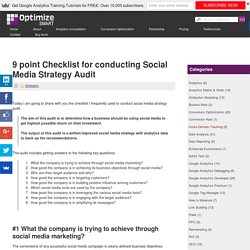 9 point Checklist for conducting Social Media Strategy Audit