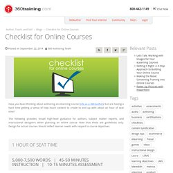 Checklist for Online Courses