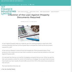 Checklist of the Loan Against Property Documents Required