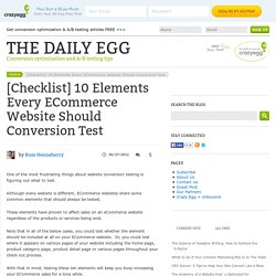 [Checklist] 10 Elements Every ECommerce Website Should Conversion Test