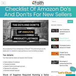 Checklist Of Amazon Do's And Don'ts For New Sellers - Faith eCommerce Services