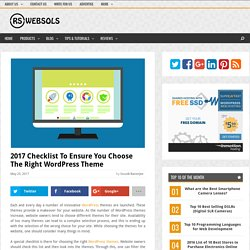 2017 Checklist to Ensure You Choose the Right WordPress Theme