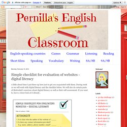 Pernilla's English Classroom: Simple checklist for evaluation of websites - digital literacy