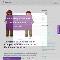 15 Checklist Point to Comparing eCommerce Order Fulfillment Services