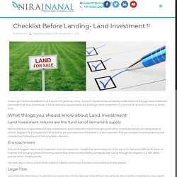 Checklist Before Landing- Land Investment !!