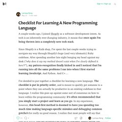 Checklist For Learning A New Programming Language