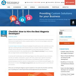 Checklist: How to Hire the Best Magento Developer India?