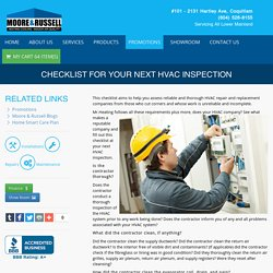 Checklist for your Next HVAC Inspection