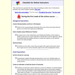 Checklist for Online Instructors: During the first week of class