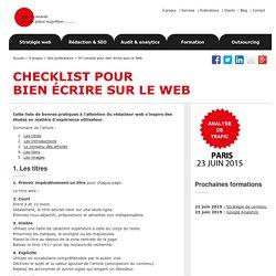 Checklist de 44 conseils pour bien écrire pour le Web - bonnes pratiques de rédaction web