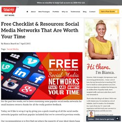 Free Checklist & Resources: Social Media Networks That Are Worth Your Time - Web123 Australia