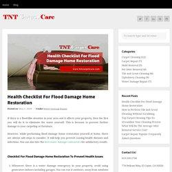Health Checklist For Flood Damage Home Restoration