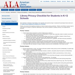 Library Privacy Checklist for Students in K-12 Schools
