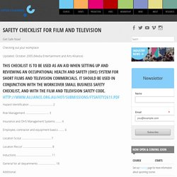 Safety Checklist for Film and Television