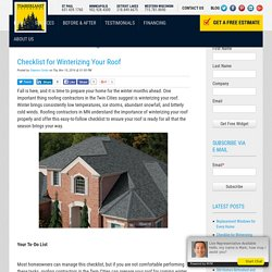 Checklist for Winterizing Your Roof