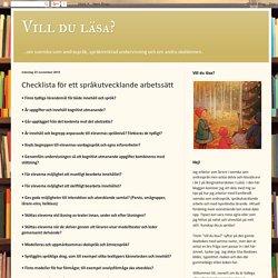 Checklista för ett språkutvecklande arbetssätt