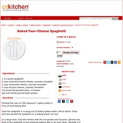 Baked Four-Cheese Spaghetti Recipe @CDKitchen