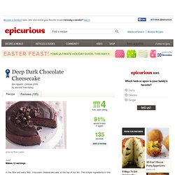 Deep Dark Chocolate Cheesecake Recipe at Epicurious