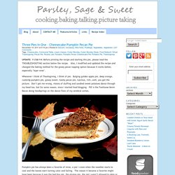 Three Pies in One - Cheesecake Pumpkin Pecan Pie - Parsley, Sage, and Sweet