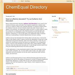 ChemEqual Directory: Need an effective descalant? Try out Sulfamic Acid Descalant