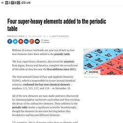 Four super-heavy chemical elements added to the periodic table