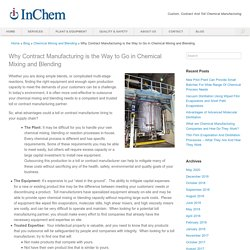 Chemical Mixing and Blending Using Contract Manufacturing
