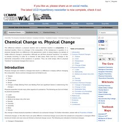 Chemical Change vs. Physical Change