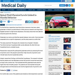 Spinal Fluid Chemical Levels Linked to Suicidal Behavior