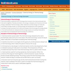 Chemical Energy to Thermal Energy Examples